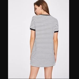 NWT black and white striped tee shirt dress